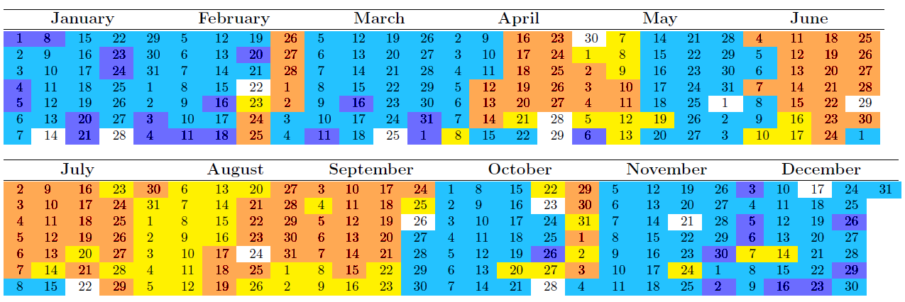 MODL Calendar